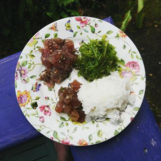 Poke and seaweed salad from Suisan Fish Market in Hilo, Hawaii.