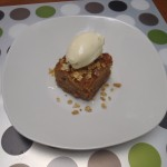 Oatcake soaked in maple syrup, with honey ice cream