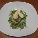Baby spinach, bacon, quail egg salad