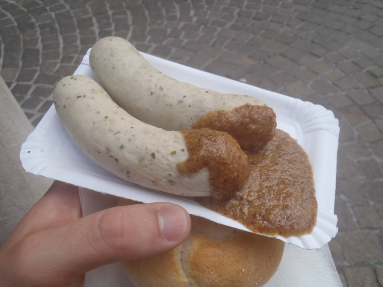 A pair of weisswurst from a sausage stand in Salzburg.