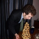 James eats the croquembouche