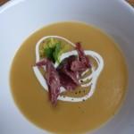 Split-pea soup with crème fraîche and ham hock