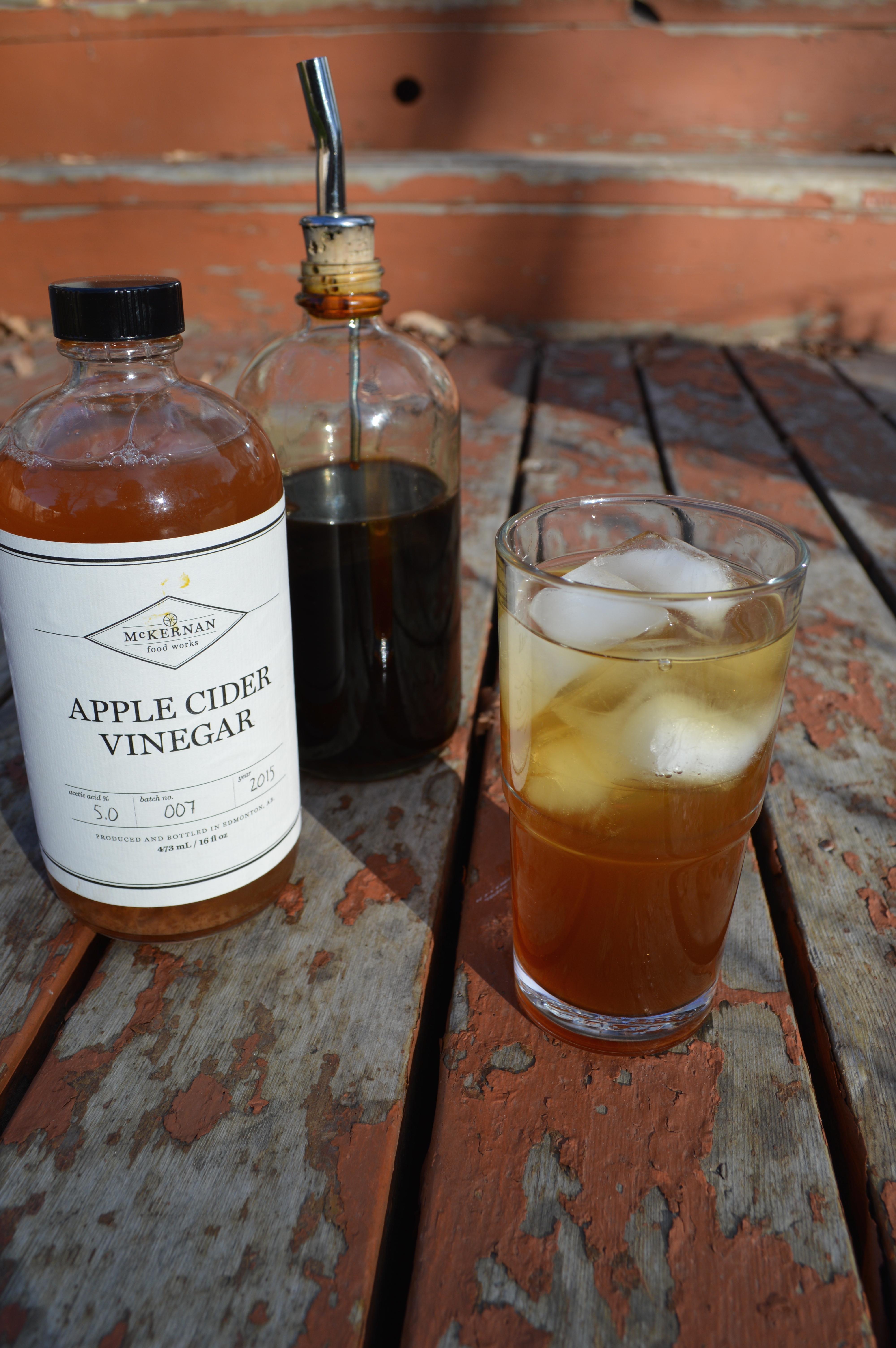 Switchel, old-timey drinking vinegar, make with apple cider vinegar, molasses, and ginger