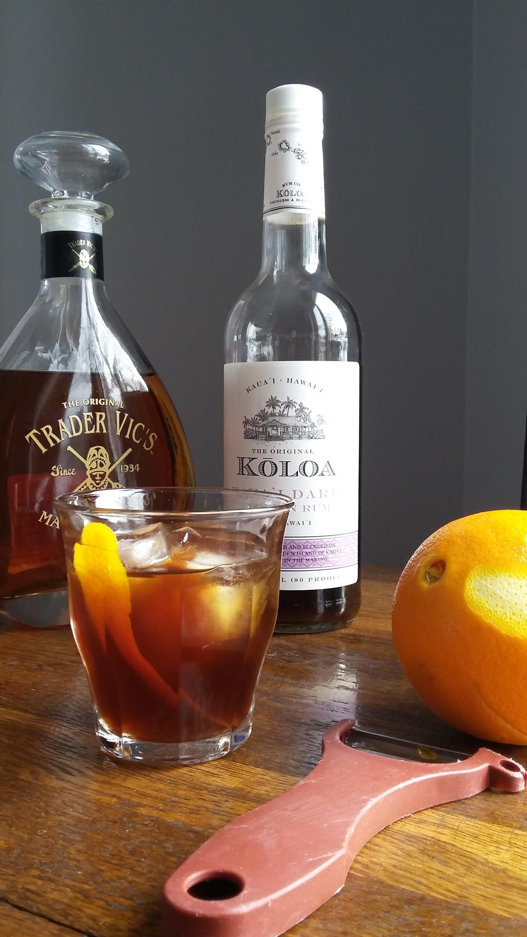 A Kona Breeze cocktail, with Koloa dark rum and Trader Vic's macadamia nut liqueur.