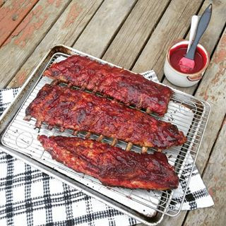 Pork ribs glazed with sour cherry barbecue sauce.