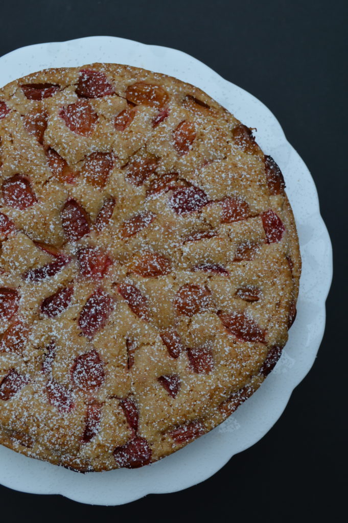 An Austrian fruit cake made with plums (Zwetschgenkuchen)