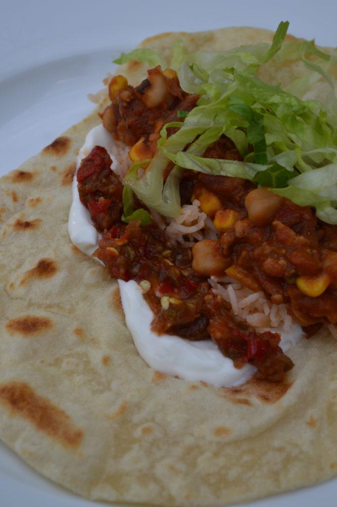 A burrito with fermented chili paste.